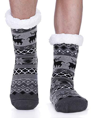 Mens Fuzzy Slipper Socks Fleece Cabin Cozy Plush Fluffy Non Skid Stockings with Gripper Winter Socks(Deer Grey )