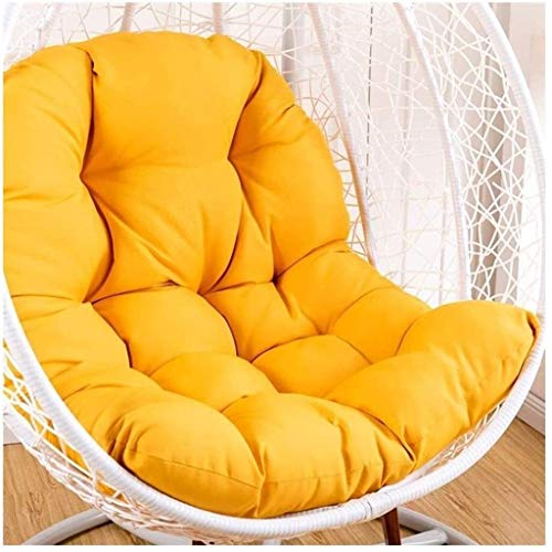 ldl Removable Swing Chair Back Chair Cushion,Rattan Cushion Cover Without Stand Thick Egg Nest Chair Cushion Washable Hanging Hammock Cushion - Size : 95x125cm(37x49inch) (Color : Yellow)