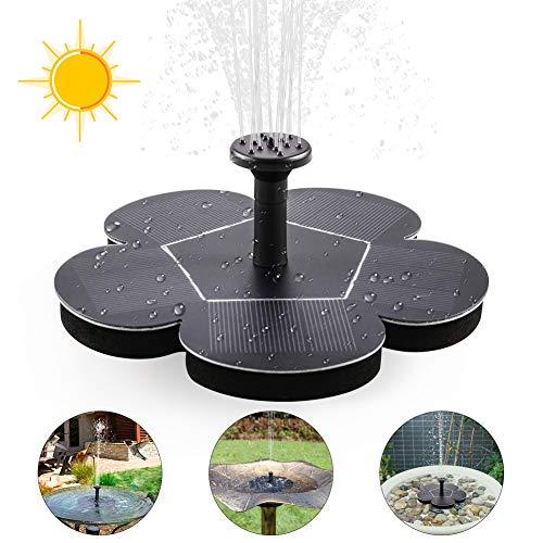 ZOTO Solar Springbrunnen, Solar Teichpumpe Outdoor Wasserpumpe mit 1.5W Monokristalline Solar Panel Brunnen, Solar Schwimmender Fontäne Pumpe für Garten, Vogel-Bad,Teich,Fisch-Behälter