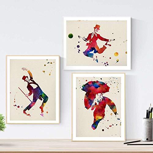 Set de 3 láminas para enmarcar Cine Clásico estilo acuarela. Posters con imágenes de Fred Astaire, tamaño 30x40 cm. Decoración de hogar. Nacnic