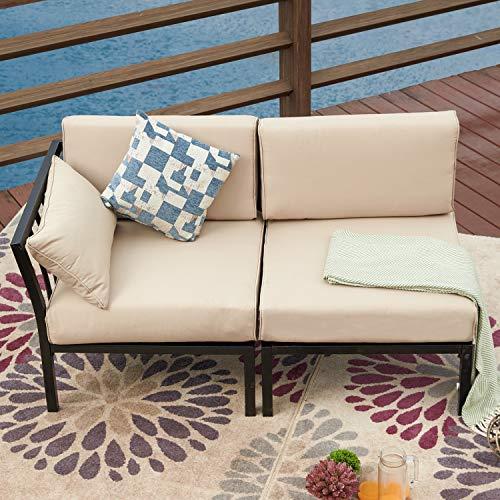 LOKATSE HOME Outdoor Patio Furniture Conversation Chairs 2 Pieces Sectional Sofa Set with Corner Sofa and Non-armrest Sofa ,Khaki