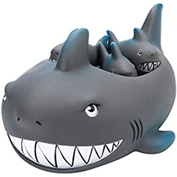 Playmaker Toys Rubber Shark Family Bathtub Pals - Floating Bath Tub Toy