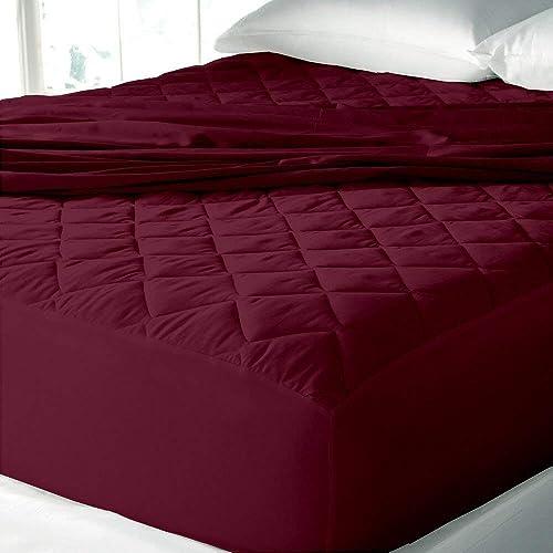 "Cloth Fusion Patron 2nd Gen Waterproof Cotton Mattress Protectors- King Size (78""x72""), Maroon"