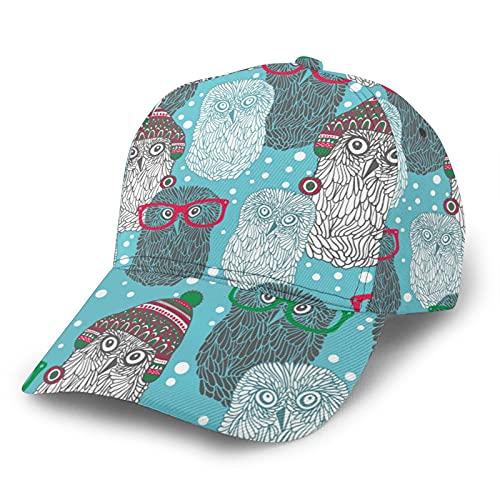 Gorra de béisbol curvada Hipster Polar Búhos 3D de sarga curvada con ala ajustable Snapback Cap clásico Sport Casual Dad Hat para hombres y mujeres negro