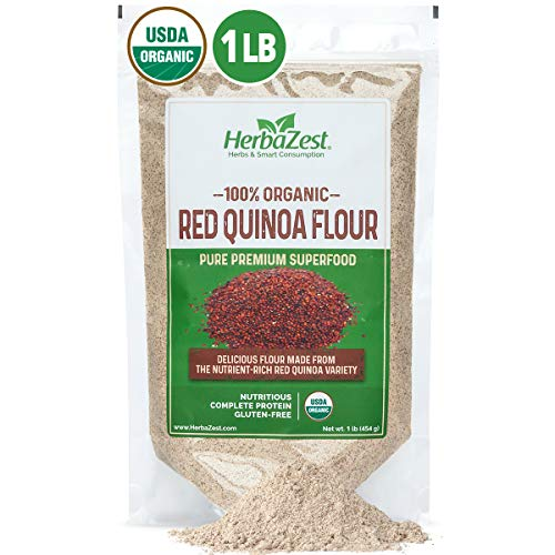 HerbaZest Red Quinoa Flour Organic - Delicious Quinoa Variety - Baking Flour Alternative - Vegan, Gluten Free & USDA Certified - 16oz (454g) – Perfect for Baked & Non-Baked Goods, Smoothies and Savory Dishes