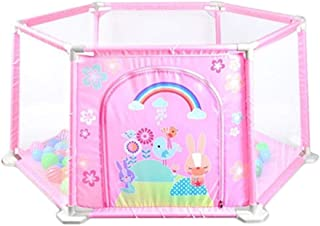 Baby Playpen Fence Baby Playpen Bed Safety Gates For Kids Children Protection  Color Pink  Size 148 66 5 64cm