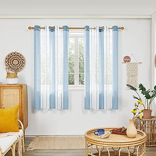 Deconovo Cortinas Translucidas, Suaves Visillos de Diseño Moderna, para Salon, Habitación, con Ojales, 140x175cm(Ancho x Alto), Azul Claro, 2 Piezas