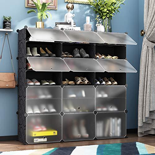 HOMEYFINE Zapatero, Cubos de Armario modulares para Ahorrar Espacio, Sostén de Almacenamiento portátil de Zapatos, Cajas de Almacenamiento de Zapatos y Zapatillas, Negro(3/7)