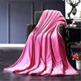 50x70cm Flannel Fleece Blanket Soft Cozy Plush Solid Blanket Throw Blanket for Couch/Sofa/Bed (Pink)