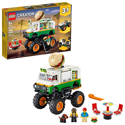 LEGO Creator 3in1 Monster Burger Truck 31104 Building Kit, Cool Buildable Toy for Kids (499 Pieces)