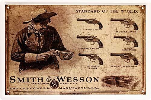 Blechschilder Standard of The World Smith & Wesson Revolver Deko Metallschild Schild Gewehr Waffe historisch Soldat Militär Armee Geschenk zum Geburtstag oder Weihnachten 20x30 cm