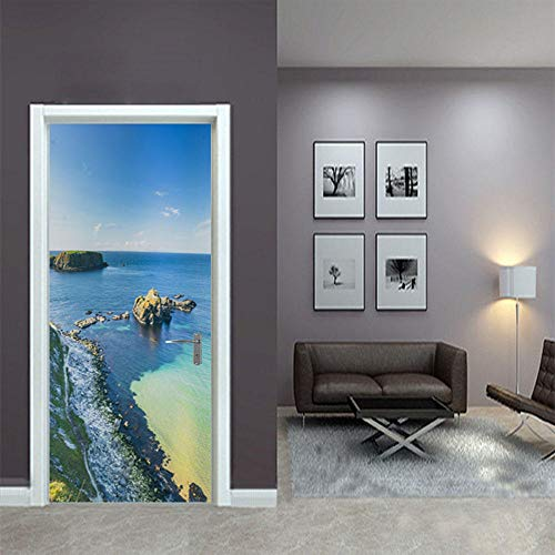 CURTAINSCSR Mural de puerta azul marino adhesivo de pared para decoración del hogar, pegatinas de papel autoadhesivo para decoración de pared, pegatin...