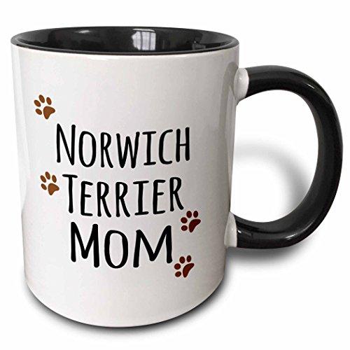 3dRose Norwich Terrier Dog Mom Mug, 11 oz, Black