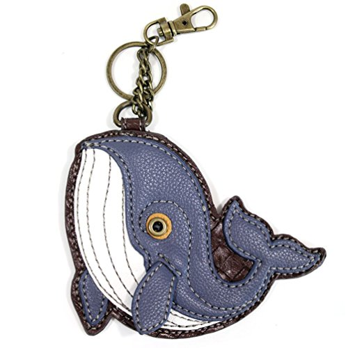 Chala Key Fob and Coin Purse 'Whale', Blue Gray