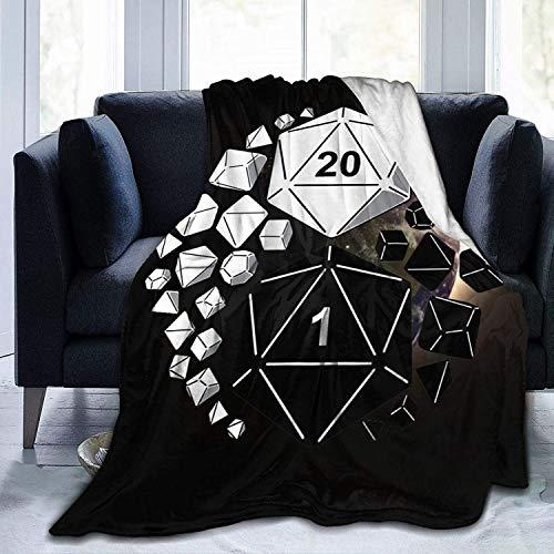 Dungeons DND Dragons Ying Yang Juego de dados de franela de microfibra, manta de toalla de felpa cálida y difusa manta ligera para cama, sofá, sala de estar, adolescentes de 150 x 100 cm