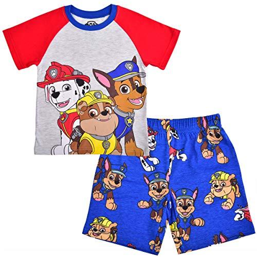 Nickelodeon Boy's 2-Piece Paw Patrol Raglan Tshirt and Short Set, Grey/Blue, Size 3T