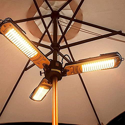 WXking Calentador de Paraguas de Patio eléctrico, Calentador de Espacio de Infrarrojos eléctrico Plegable al Aire Libre con 3 Paneles de Calentamiento para pérgola o Parasol de Gazabo, Británica