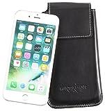 MATADOR Echt Ledertasche kompatibel zu iPhone 6 Plus / 6s Plus Handytasche Schutz-Hülle Etui Vertikaltasche Magnetverschluß Breite Gürtelschlaufe (Schwarz)
