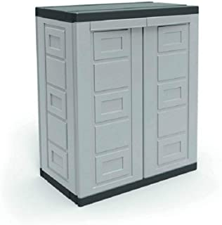 Contico 2 Shelf Plastic Garage Base Utility Cabinet, Gray
