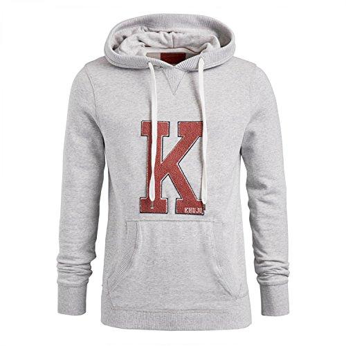 khujo Wilford Herren Sweatshirt mit Kapuze Sweater Pullover Kapuzenpullover (M, Grey-Melange)