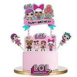 LOL Happy Birthday Cake Topper Cupcake Picks Decorazione torta del fumetto Bambini Ragazze Birthday...