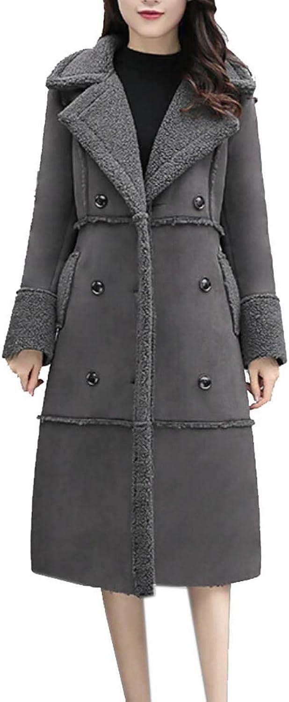 Maweisong Womens Outerwear Winter Overcoat Faux Suede Shearling Long Coat