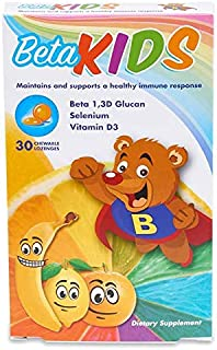 Beta Kids Chewable Children's Immune System Booster with Highest Purity Beta 1 3,d Glucan, Selenium, and Vitamin D3: All Natural, Non GMO, Gluten Free - 30 Gummies