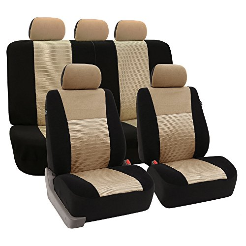 FH Group - FB060BEIGE115 Universal Fit Full Set Trendy Elegance Car Seat Cover, (Beige/Black) (FH-FB060115, Airbag compatible and Split Bench, Fit Most Car, Truck, Suv, or Van)
