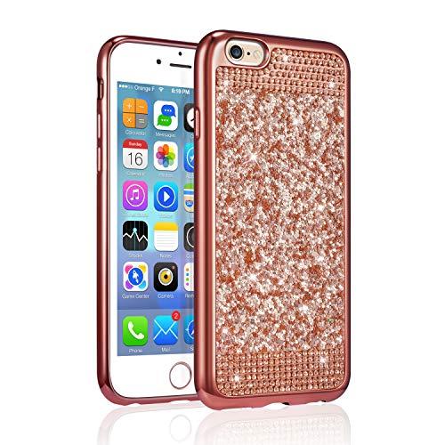 Carcasa para iPhone ZCDAYE Bling de diamantes., silicona plástico, oro rosa, iPhone 7/iPhone 8