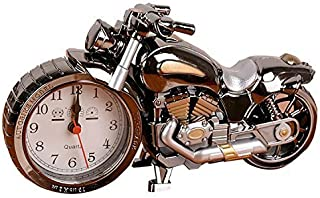 Mlida Luxury Retro Style Motorcycle Alarm Clock, Unique Eye-catching Exquisite Motorbike Sporting Unique Gift for Motor Lovers,Kids,Boys (Grey)