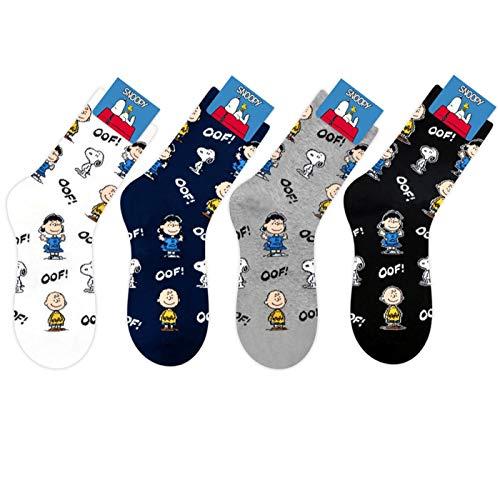 Die Peanuts Comics Charakter Mannschafts Socken 4 Paaren - Charlie Brown, Snoopy, Woodstock, Lucy van Pelt