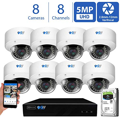 GW Security 8 Channel 4K NVR 5MP H.265 Video Security Camera System - 8 x Dome 5MP 1920P Weatherproof 2.8-12mm Varifocal Zoom IP PoE Cameras, Pre-Installed 4TB Hard Drive (VD8CHC5071IPX8)