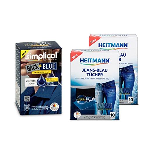 Simplicol Farberneuerung Back-to-Blue, Blau 1er Pack + Heitmann Farb-Erhalt Jeans Blau Tücher (2 × 10 Tücher, Blau), 2er Pack: Bündel Farbauffrischung und -Erneuerung in der Waschmaschine,