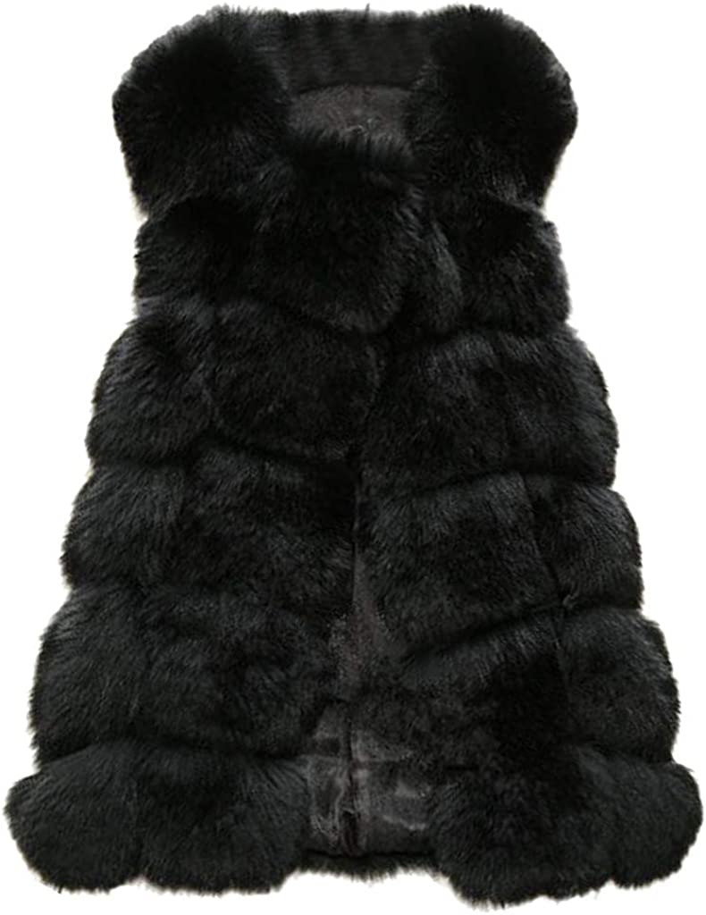 VEZAD Store Women's Faux Fur Gilet Coat Slim Long Waistcoat Jacket Sleeveless Shrug Trench Outerwear
