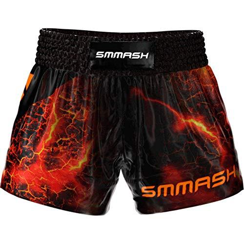 SMMASH Diablo Profesionalmente Pantalones Cortos de Muay Thai Hombre, de Boxeo, Artes Marciales, BJJ, Grappling, Krav Maga, Material Transpirable y Antibacteriano, (XXL)