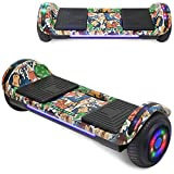 Longtime Kids 2020 Edition Hoverboard Self Balancing Scooter with LED Lights Flashing Wheels - UL Certified (Graffiti White)