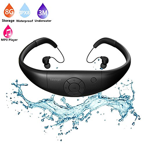 Tayogo 8GB Waterproof MP3 Player Swimming Headphone with Shuffle Feature - Black