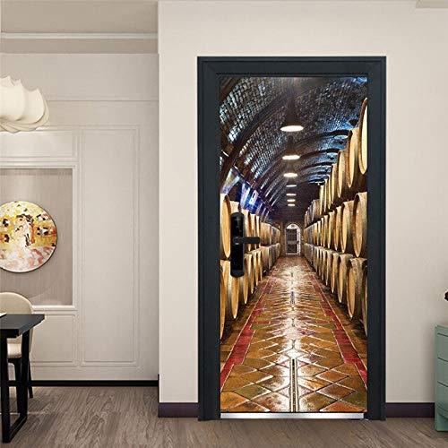 DFKJ Pegatina en la Puerta Papel Tapiz Autoadhesivo Paisaje Abstracto Imagen de impresión Arte de la Pared Mural Armario Renovación Decoración para el hogar A18 77x200cm