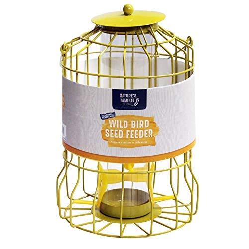 HomeZone Garden Mile Bleu Deluxe Écureuil Étanche Alimentation Cage Graines Noix Fat Boules avec Sûr Garde Extérieur Cage Étanchéité pour Jardin - Jaune Mangeoire à Graines