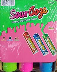 Includes 12 Ooze Tubes! 3 Deliciously Sour Flavors - Blue Raspberry, Cherry, Green Apple! Each Tube Holds 4 Ounces of Delicious Candy! Features a Cap for Closing and Storing for Later! No Mess! These Ooze Tubes are Great for Parties, Events, Kid's, P...