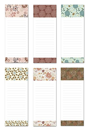 Note Card Cafe 6-Pack Magnetic Notepads for Fridge | Great for to Do List, Grocery Shopping List, School Reminders | Unique Floral Frenzy Design Series Set with 50 Sheets | 3.5 x 9 in