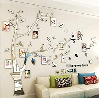 Kenmont Large Family Tree Wall Decals 3D DIY Photo Frame Wall Stickers Crystal Acrylic Mural for Living Room Sofa TV Art Wall Background(Silver-L-Left)
