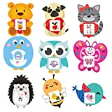 Aneco 36 Sets (108 Pieces) Valentine's Day Cards for Kids Include 36 Pieces Cute Animal Greeting Cards 36 Pieces Temporary Tattoos 36 Pieces Envelopes for School Party Favors