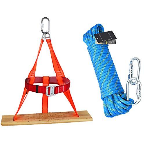 GJF 12mm Seilset, Massivholz-Sitzseilset, Luftarbeitssicherheitsseil, Absturzsicherungs-Außenwandreinigungskonstruktion, Schaukeln für Kinder-blue-Rope10m