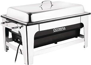 Olympia CM266 Chauffe-plat électrique 100 mm de profondeur avec support de poêleà température réglable, argent