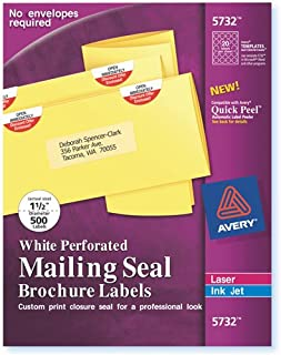 Printable Mailing Seals, Round, 1 1/2 Size Label, White (AVE05732) Category: Address and Mailing Labels by Avery