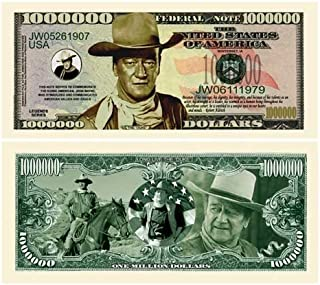 John Wayne Million Dollar Bill (Pack of 5) Limited Edition Collectible Novelty Dollar Bill - Best Gift Or Keepsake for Fans Of The Duke