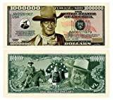 John Wayne Million Dollar Bill (Pack of 5) Limited Edition Collectible Novelty Dollar Bill - Best Gift Or Keepsake for Fans Of The Duke