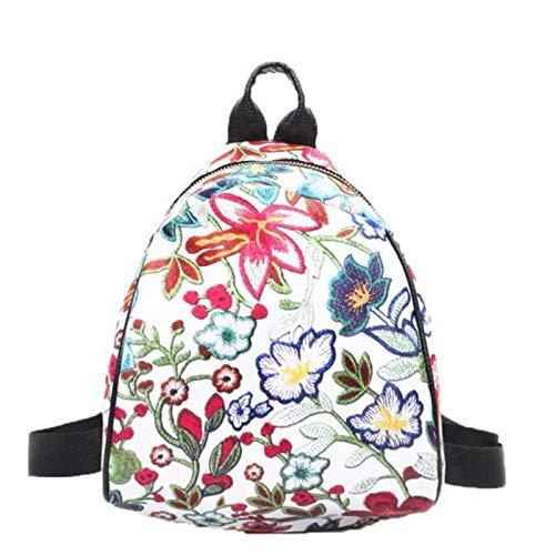 N-B Mochilas para niñas Adolescentes Mochila de Lona étnica Bordada Vintage Mochila de Viaje con Flores para Mujer Mochila Escolar