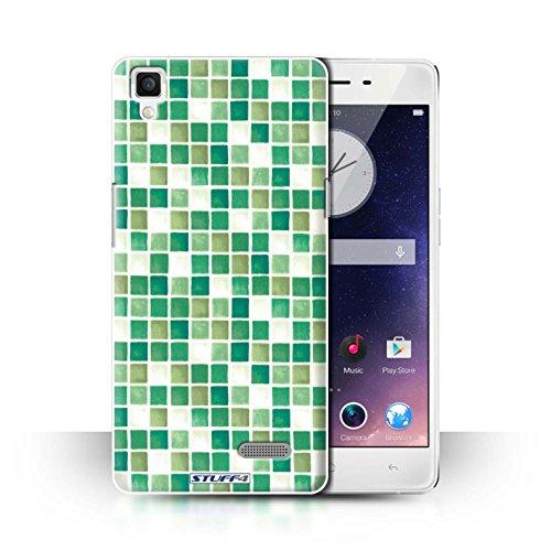 Stuff4 hoes/case voor Oppo R7 / groen/wit patroon/badkamer tegels collectie
